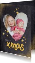 Weihnachtskarte mit Foto in Herz und Goldakzenten