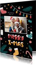 Weihnachtskarte mit Foto und fröhlichen Symbolen