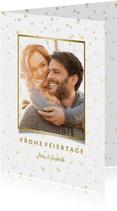 Weihnachtskarte mit Foto und goldenen Sternen