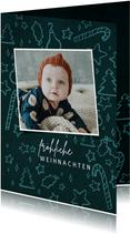 Weihnachtskarte mit Foto & niedlichen Illustrationen
