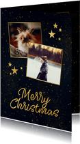 Weihnachtskarte mit Fotos und goldenen Sternen