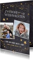 Weihnachtskarte mit Fotos und Goldsternen