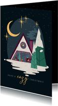 Weihnachtskarte mit gemütlicher Wald-Hütte