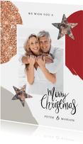 Weihnachtskarte mit Glitzer, Sternen, Foto und Farbe