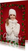 Weihnachtskarte mit großem Foto und Stechpalme als Rahmen