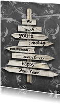 Weihnachtskarte mit Weihnachtsbaum Holzschilder