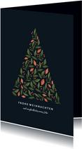 Weihnachtskarte mit Weihnachtsbaum in botanischem Look