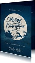 Weihnachtskarte Mond und Silhouette merry christmas