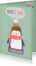 Weihnachtskarte Pinguin mit Sprechblase