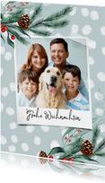 Weihnachtskarte Polaroid Foto, Punkte & Tannenzweige