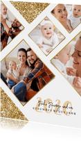 Weihnachtskarte Rautenmuster mit Fotos und Glitzer