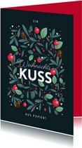 Weihnachtskarte Weihnachtskuss