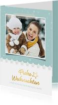 Weihnachtskarte winterlich Foto und Schneeflocken