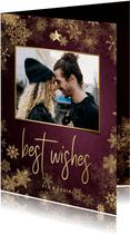 Weinrote Weihnachtskarte mit Foto und Schneeflocken