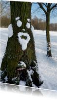 Wenskaart Sneeuwpret boom