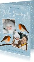 Winterliche Foto-Weihnachtskarte Rotkhelchen