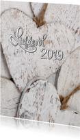 Witte Houten Harten Liefdevol 2019