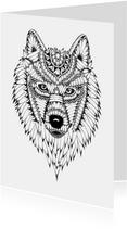 Wolf zwart/wit illustratie