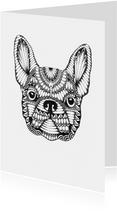Franse bulldog zwart/wit illustratie