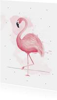 Woonkaart handgeschilderde roze flamingo