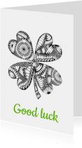 Klavertje vier zwart/wit illustratie Good Luck