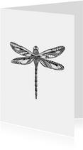 Libelle zwart/wit illustratie