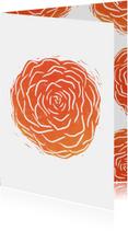Woonkaart lino afdruk roos