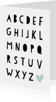 Woonkaart met alfabet letters in een hip fontje
