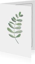 Woonkaart met een botanisch blad in waterverf