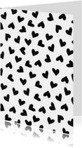 Woonkaart met inkleurbaar hartjes patroon in stempellook