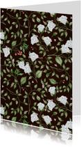 Woonkaart met stijlvol patroon van rozen en blaadjes