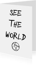 Woonkaart 'See the world' met wereldbol