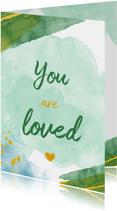You are loved felicitatiekaart geboorte jongen waterverf