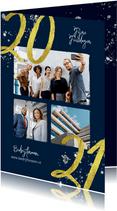 Zakelijke kerstkaart 2021 goud glitter foto's