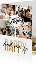 Zakelijke kerstkaart bedrijfslogo happy holidays fotocollage