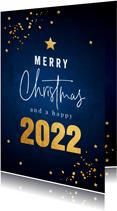 Zakelijke kerstkaart blauw goudlook confetti sterren