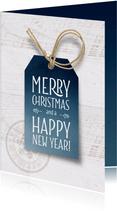 Zakelijke kerstkaart blauw label