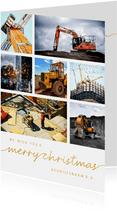Zakelijke kerstkaart bouw 7 foto's gouden tekst