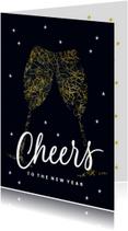 Zakelijke kerstkaart champagne glazen Cheers