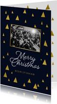 Zakelijke kerstkaart driehoekjes goud merry christmas foto