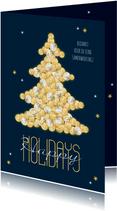 Zakelijke kerstkaart financieel geld kerstboom goud sterren