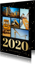 Zakelijke kerstkaart fotocollage met gouden 2020 en sterren