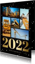 Zakelijke kerstkaart fotocollage met gouden 2022 en sterren