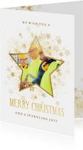 Zakelijke kerstkaart gouden ster met foto stijlvol