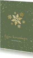 Zakelijke kerstkaart groen met sneeuwvlok - een gouden kerst