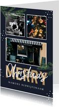 Zakelijke kerstkaart horeca restaurant fotocollage takjes