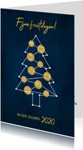 Zakelijke kerstkaart ICT branche kerstboom en iconen