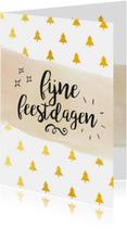 Zakelijke kerstkaart kerstbomen goud