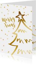 Zakelijke kerstkaart kerstboom confetti goudlook