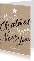 Zakelijke Kerstkaart - Merry Christmas Happy NewYear - Kraft